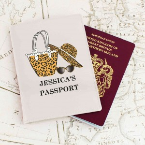 Leopard Print Cream Passport Holder