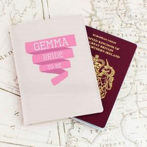 Pink Banner Cream Passport Holder