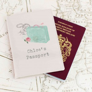 Vintage Pastel Travel Cream Passport Holder