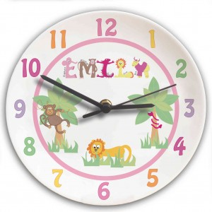 Animal Alphabet Girls Clock